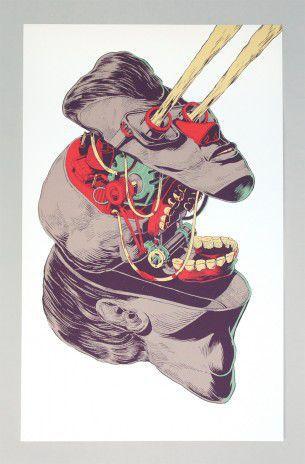 """Il graffiti artist messicano in arte Smithe One alle prese con illustrazioni surreali e concettuali, per la serie intitolata """"Ladrillo y Carne"""", in italiano letteralmente mattone e carne."""